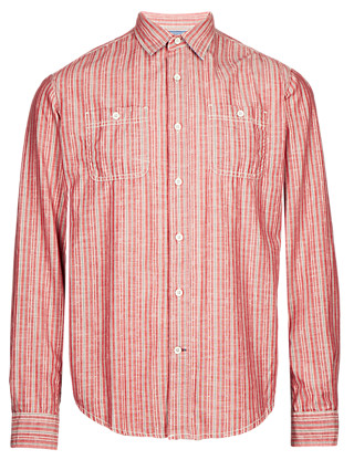 Pure Cotton Jackard Striped Shirt Clothing