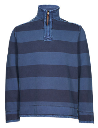 Pure Cotton Half Zip Striped Top Clothing
