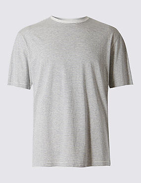 Pure Cotton Striped Regular Fit T-Shirt with StayNEW™