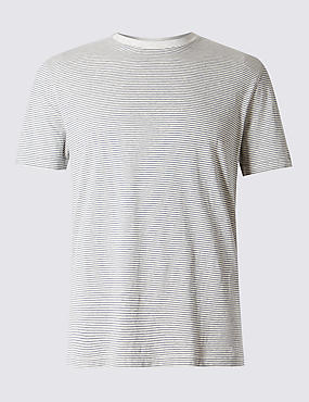 Pure Cotton Slim Fit Striped T-Shirt with StayNEW™