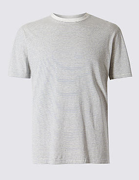 Pure Cotton Striped Tailored Fit T-Shirt with StayNEW™