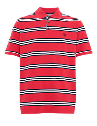 Pure Cotton Slim Fit Striped Polo Shirt Clothing