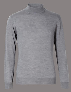 Merino Wool Blend Slim Fit Turtle Neck Jumper