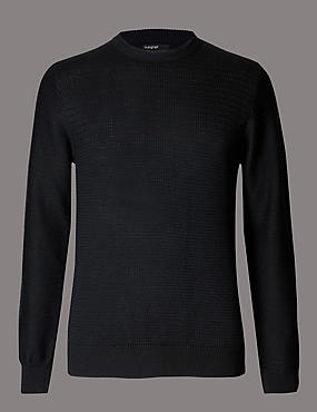 Merino Wool Blend Textured Crew Neck Jumper