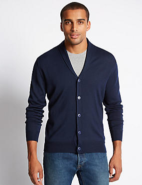 Merino Wool Blend Shawl Neck Cardigan