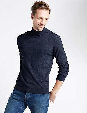 Cotton Blend Roll Neck Jumper