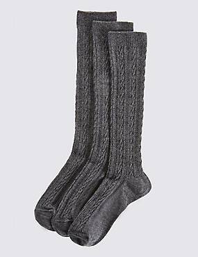 3 Pairs of Freshfeet™ Cable Knee High Socks (3-14 Years)
