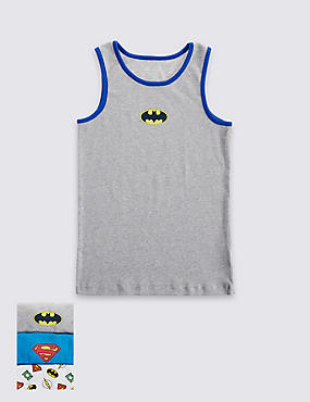 3 Pack Pure Cotton Super Hero Vests (1-10 Years)