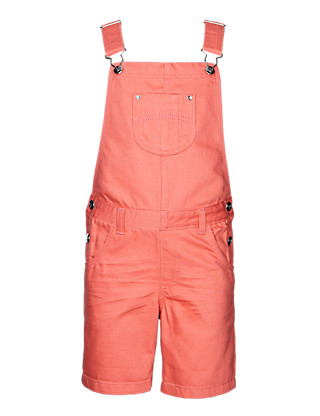 Pure Cotton Crinkled Dungaree Shorts (1-7 Years) Clothing