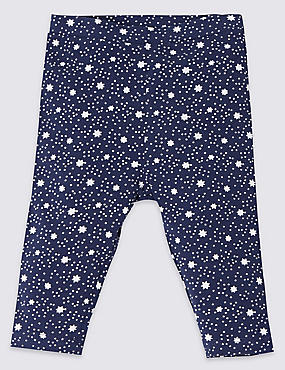 Unisex Cotton Rich Christmas Star Print Leggings