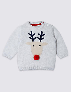 Pure Cotton Christmas Reindeer Jumper