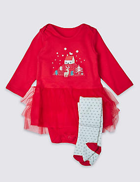 Long Sleeve Xmas Tutu Bodysuit with Tights