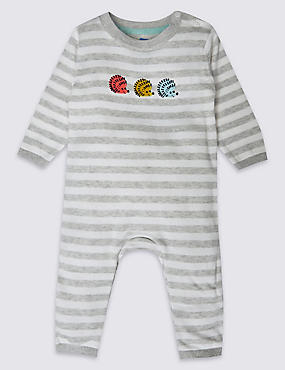 Pure Cotton Hedgehog Stripe Knit All in One
