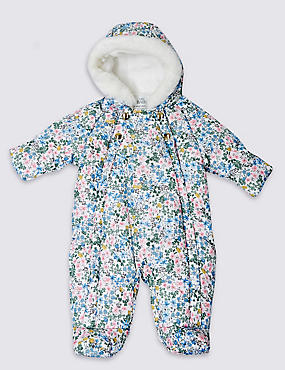 Faux Fur Long Sleeve Floral Print Snowsuit