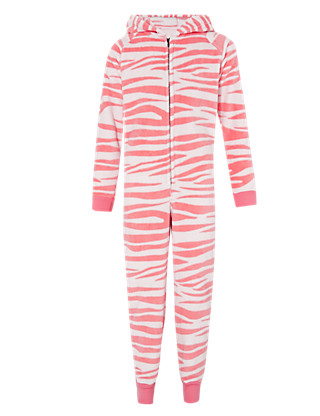 Hooded Soft & Cosy Zebra Fleece Onesie (6-16 Years) Clothing