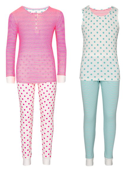 2 Pack Cotton Rich Spotted & Striped Pyjamas (5-14 Years)