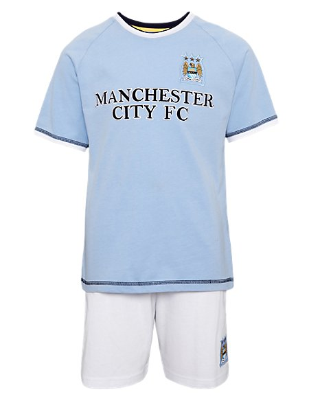 Pure Cotton Manchester City Football Club Short Pyjamas (3-16 Years)
