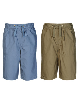 2 Pack Pure Cotton Drawstring Shorts (5-14 Years) Clothing