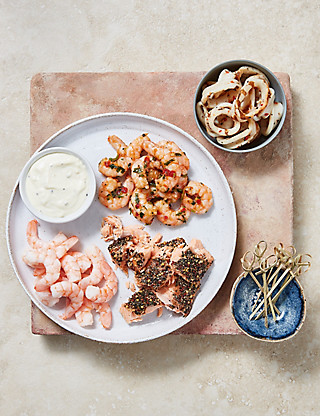 Seafood Selection Platter with Garlic & Lemon Mayonnaise Food