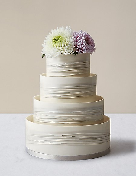 Shimmering Hoop Chocolate Wedding Cake White Silver