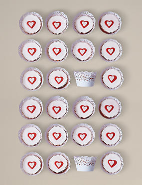 24 Serene Heart Cupcakes (Pre-Order: Available from 23rd February 2017)