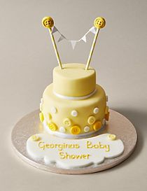 Button & Bunting Cake in Yellow & White