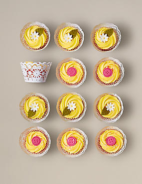 12 Daisy & Button Cupcakes (Pre-Order: Available from 15th February 2017)