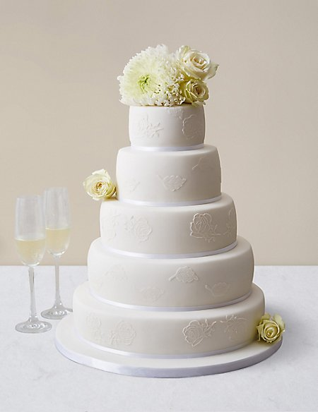 Embroidered Lace Wedding Cake White Icing Serves 150 MS - Lace Wedding Cakes
