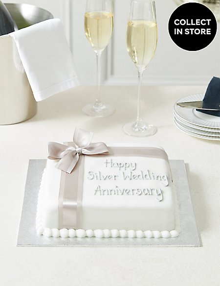 Celebration Sponge Cake with Silver Ribbon (Serves 30)
