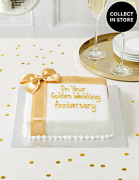 Celebration Sponge Cake with Gold Ribbon