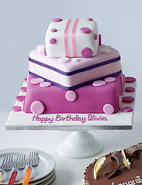 Pink Present Stack Cake