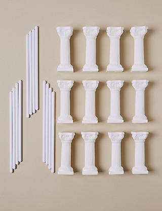 12 White Pillars & 12 Dowels - Wedding Cake Accessories Cakes