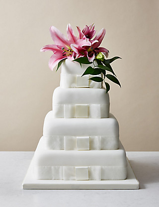 4 Tier Elegant Assorted Wedding Cake with Lemon Cakes
