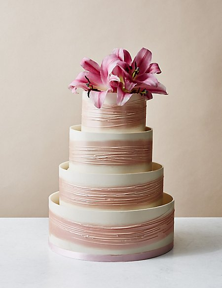 Shimmering Hoop Chocolate Wedding Cake (White & Pink) - Serves 110