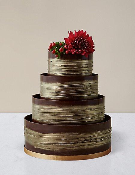 Shimmering Hoop Chocolate Wedding Cake Dark Gold