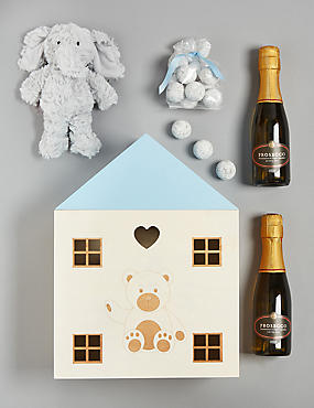 Baby Boy Gift with Prosecco, Marc de Champagne Truffles & Soft Toy
