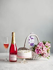 Mother's Day Basket Filled with Flowers, Rosé Cava & a Spring Blossom Cake