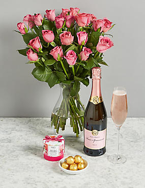 The Chelsea Celebration Gift with Pink Roses and Pink Sparkling Wine