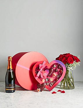 Valentine's Hat Box with Champagne, Roses & Chocolates (Pre Order: Available from 10th February 2017)
