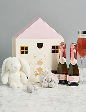 Baby Girl Gift with Rosado Cava Prestige, Marc de Champagne Truffles & Soft Toy