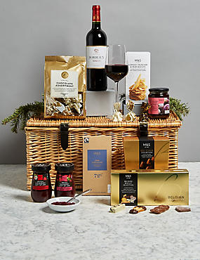 Delicious Hamper with Red Wine