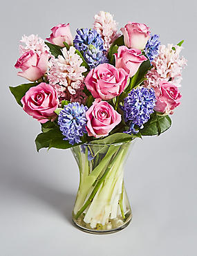 Mother's Day Rose & Hyacinth Posy (Pre-order for free delivery from 6th March)