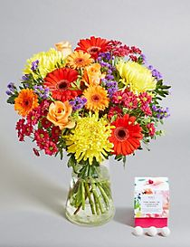 Mother's Day Brights Bouquet with Free Chocolates worth £6 (Pre-order for delivery from 6th March)