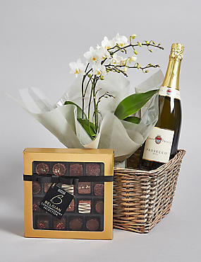 Contemporary Prosecco, Belgian Chocolates & Orchid Hamper (Pre-Order: Available from 3rd May 2018)