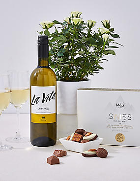 White Wine, Rose Plant & Swiss Chocolates Hamper (Pre-Order: Available from 3rd May 2018)
