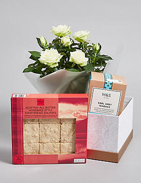Classic Tea, Shortbread & Rose Plant Hamper (Pre-Order: Available from 3rd May 2018)