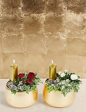 Contemporary Christmas Candle Duo
