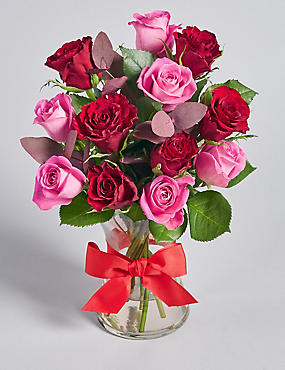 Dozen Red Roses with Vase & Ribbon