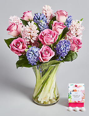 Mother's Day Rose & Hyacinth Posy - Free Chocolates (Free Delivery from 21-28 March)