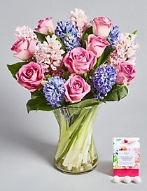 Mother's Day Rose & Hyacinth Posy with Free Chocolates worth £6 (Pre-order for delivery from 6th March)